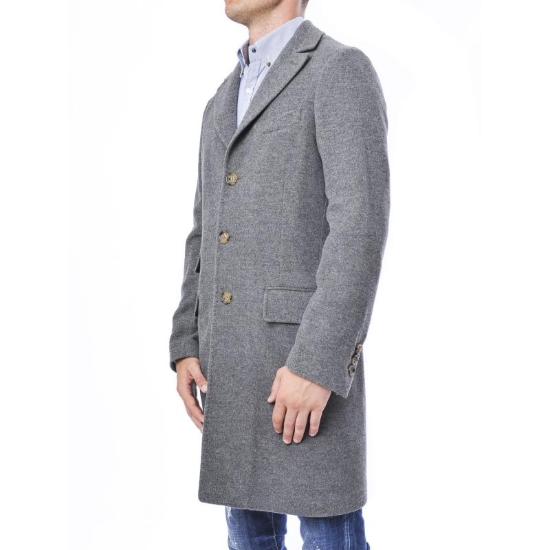 new concept c00a7 3e044 Cappotto Uomo monopetto linea classica in lana e cashmere GRIGIO