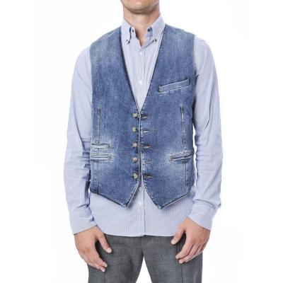 Panciotto monopetto in jeans in tela denim morbida.Taschini a filo UNICO UNICO