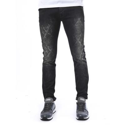 Jeans uomo nero in cotone slim-fit stampa Paisley NERO NERO