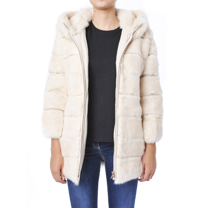 buy online 2df41 c771b Giaccone con cappuccio in pelliccia reversibile Beige