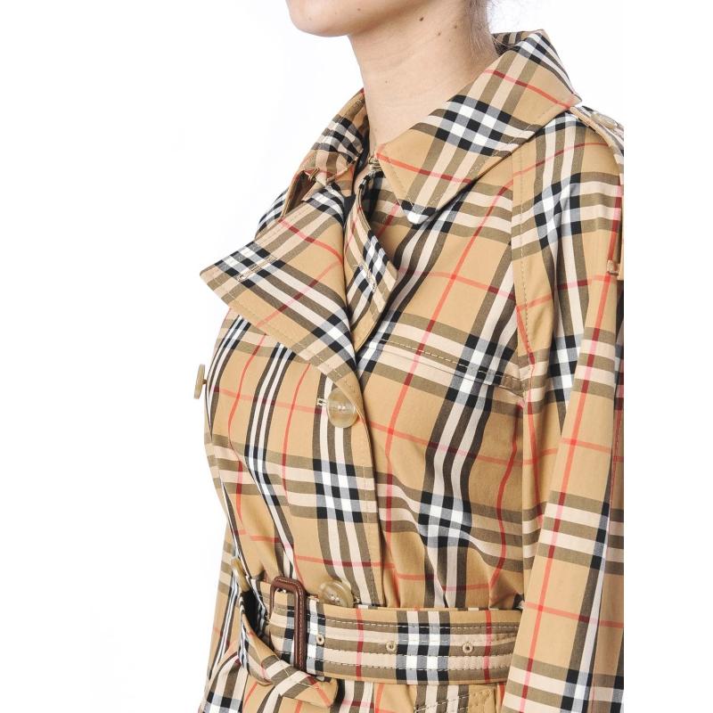 Trench coat in cotone laminato con motivo Vintage check Checked Checked