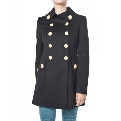 Cappotto Caban sartoriale doppiopetto in panno di lana beaver Nero Nero