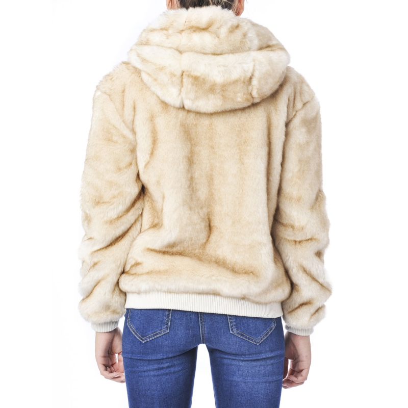 Giacca effetto pelliccia con cappuccio Beige Beige