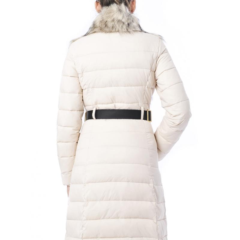 more photos d7512 80fb3 Piumino in vela con cintura e inserti in pelliccia Bianco