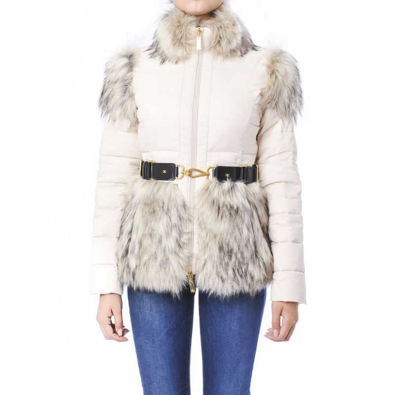 Piumino in vela con cintura e inserti in pelliccia Bianco Bianco