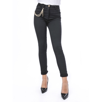 Pantaloni skinny con catena laterale con logo Nero Nero
