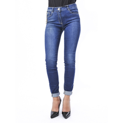 Pantaloni in jeans skinny con catena laterale con logo Blu Scuro Blu Scuro