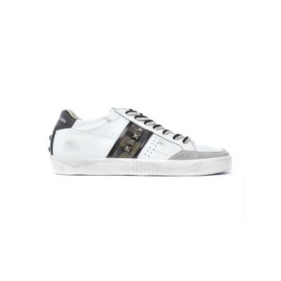Sneaker Uomo in pelle con inserti in suede BIANCO BIANCO