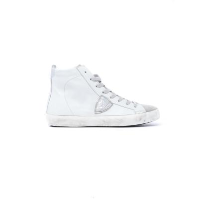 Sneaker Donna High in pelle con inserti in materiale scamosciato GRIGIO GRIGIO