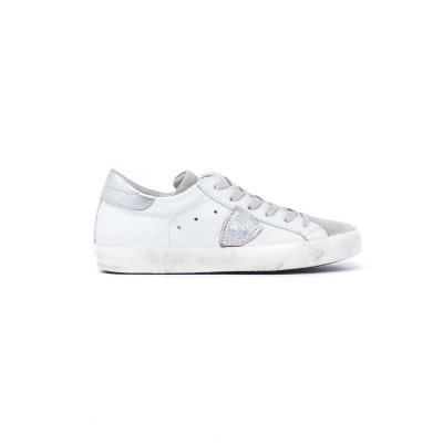 Sneakers Donna in pelle con ettaglio in suede grigio BIANCO BIANCO