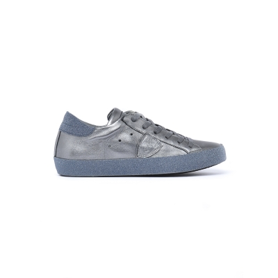 Sneaker Donna modello Paris in pelle  GRIGIO LUCIDO GRIGIO LUCIDO