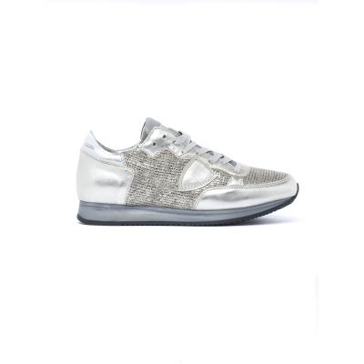 Sneaker Donna modello Tropez in pelle e tessuto intrecciato ORO ORO