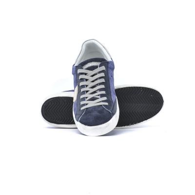Sneaker Uomo in suede con inserti in pelle Blu Blu