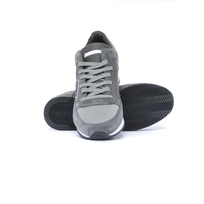 Sneaker Uuomo modello Tropez in pelle con inserti in suede Grigio Grigio