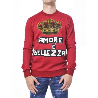 Felpa Uomo con posini e vita elasticizzata e Stampa con corona Rosso Rosso